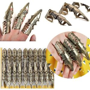 New 8Pcs/Lot Wholesale Gothic Punk Hinged Knuckle Full Finger Armor Rings Claw