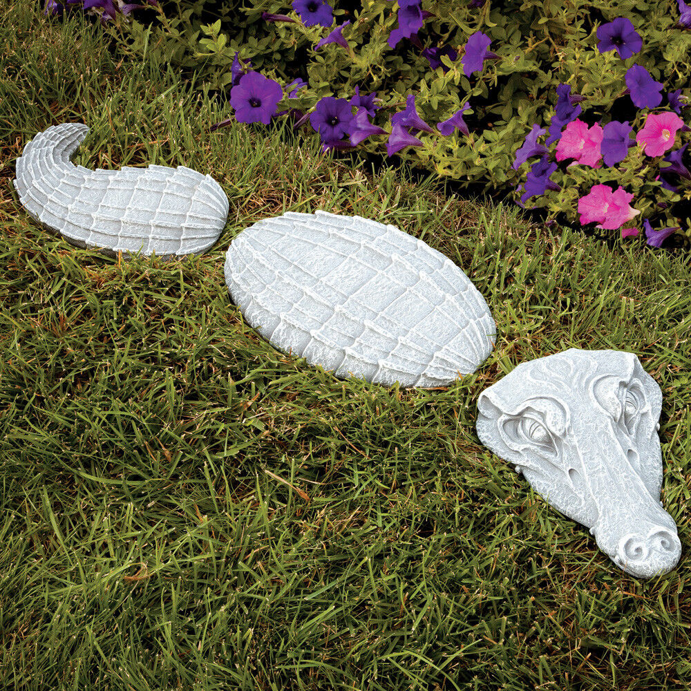 Bits and Pieces-3 Piece Alligator Garden Stone Set-Polyresin