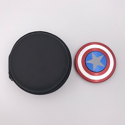 Metal Fidget Spinner Tri Spinner Toy ADHD Autism Captain America Shield EDC