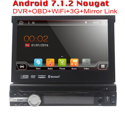 "GPS Navi One 1 Din 7"" Android 7.1 Central Auto Car Stereo Radio DVD Player"
