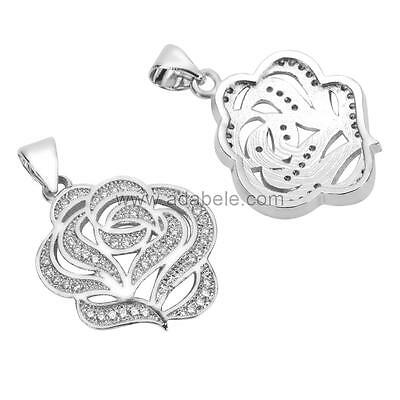 1pc Top Quality Silver Love Key Charm Pendant with Man Made Diamond Simulants # MCAC14