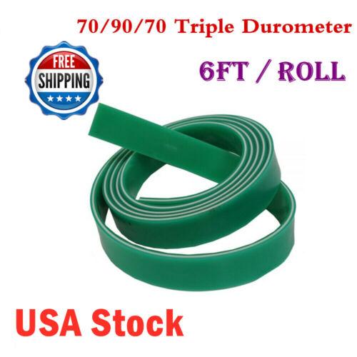 US Stock 6ft Roll 70/90/70 Triple Durometer Silk Screen Printing Squeegee Blade