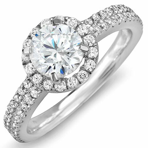 Diamond Engagement Ring GIA Certified 2 Carat Round Brilliant Cut 18k White Gold