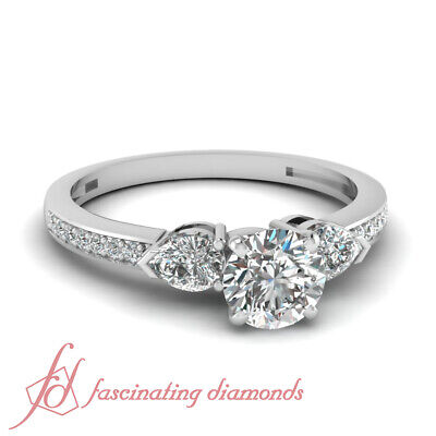 .85 Ct Round Cut Diamond Three Stone Engagement Ring Pave Set SI2-E Color GIA