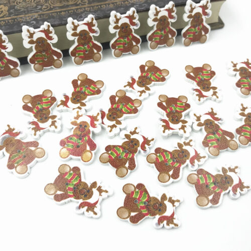 Christmas deer Wooden Buttons Kid/'s Christmas craft decoration Sewing 28mm