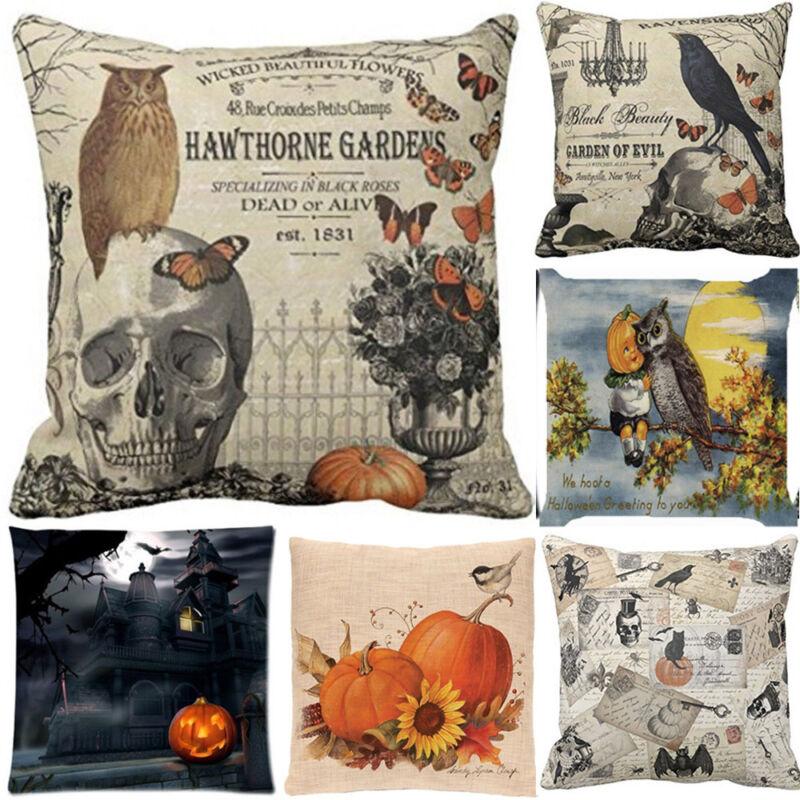 Pumpkin Castle Happy Halloween Pillow Cases Linen Sofa Cushion Cover Home Decor