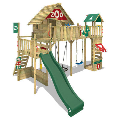 WICKEY Stelzenhaus Baumhaus Spielturm Smart Ranger - Nestschaukel, grüne Rutsche