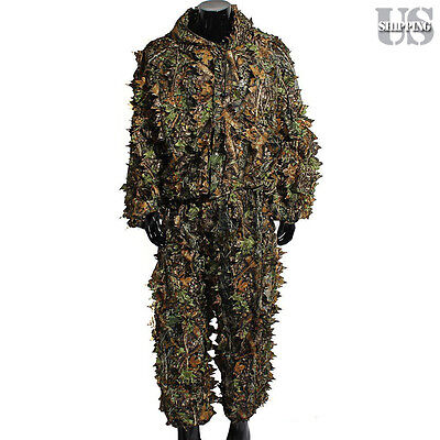 Ghillie Suit Leaf Woodland Camo Camouflage Clothing 3D Jungle Hunting Forest M/L
