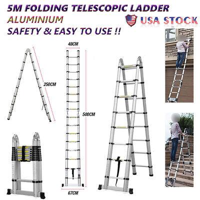 Hot Sale 5m Multi Purpose Aluminum Telescoping Ladder Stretchable Platform Us