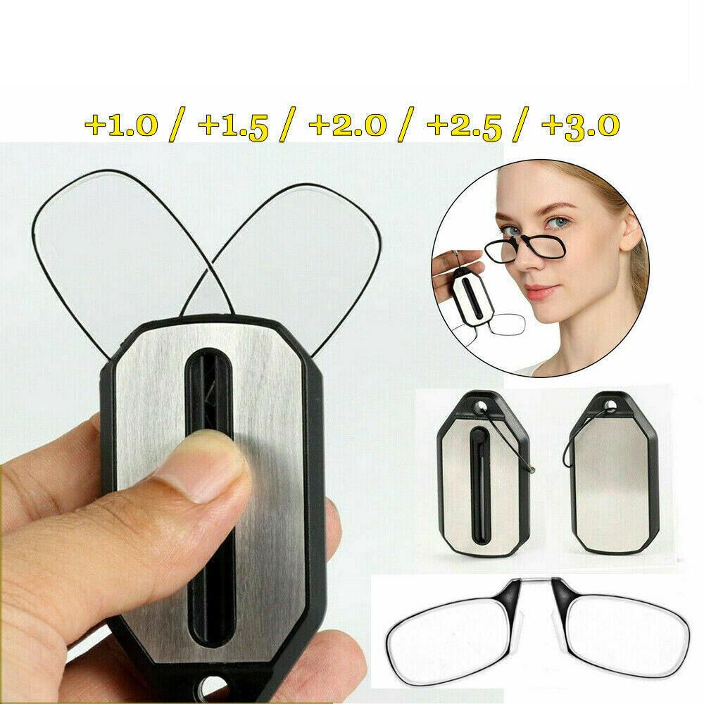 Mini Tragbare Faltbare Clip Nase Lesebrille mit Schlüsselanhänger Schwarz ER