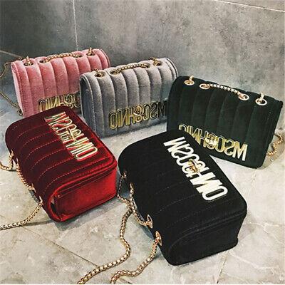 Designer Tasche (MOSCHINO Damen Taschen Kette Handtasche Crossbody Velvet Designer Schulranzen DE)