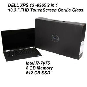 Dell XPS 13 9365 2-in-1 13.3 FHD Touchscreen Corning Gorilla Glass- i7-7Y75 - 8GB Ram -512GB SSD