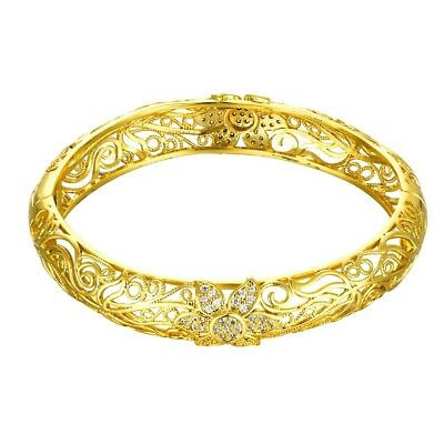 Double Row 14K Yellow Gold Plated Austrian Crystal Flex Wrap Bangle Bracelet Double Row Crystal
