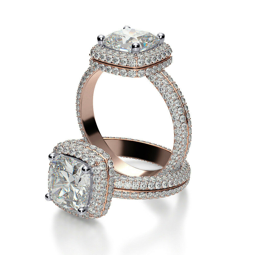 3.00ct Opulent Natural Halo Micro Pave Eternity Diamond Engagement Ring - GIA 2