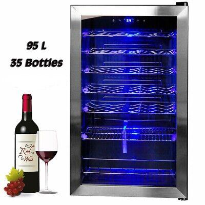 35 Bottles Wine Beer Drinks Fridge Cooler Chiller Refrigerator Stainless Steel