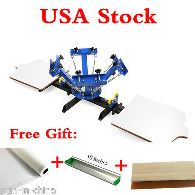 4 Color 2 Station Silk Screen Printing Machine 4-2 Diy T-shirt Press Printing