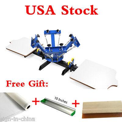 4 Color 2 Station Silk Screen Printing Machine 4-2 Diy T-shirt Press Printing