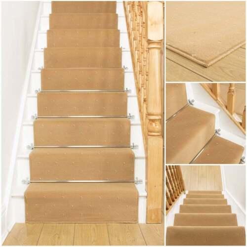 Dotty Beige Stair Carpet Runner For Narrow Staircase
