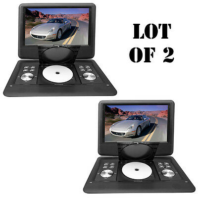 "Lot of 2 Pyle 14"" Portable Swivel TFT DVD CD/USB/SD Player W/Remote+Car Adapter"