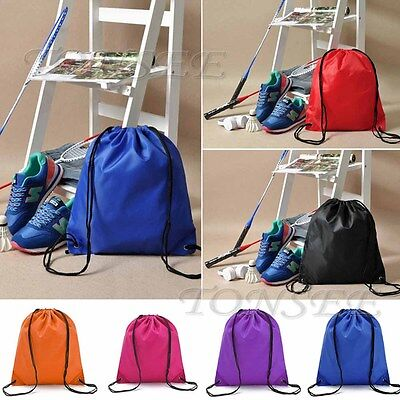 (US Fashion Nylon Drawstring Cinch Sack Sport Beach Travel Outdoor Backpack Bags)