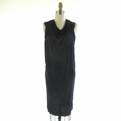 40/S - Isabel Benenato Black Tie Dye Sleeveless Draped Neck Midi Dress 0915WH