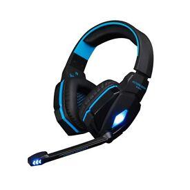 PC blue LED gaming headset