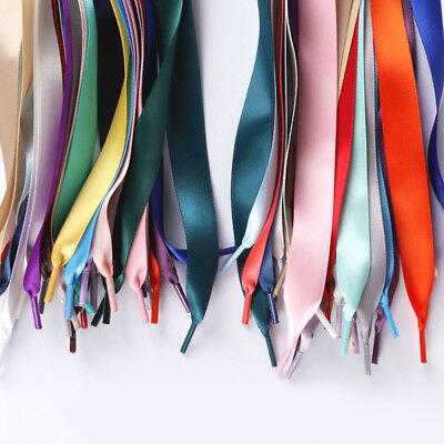Ribbon Shoe Laces (2cm Wide Unisex Various Colors Ribbon Satin Shoe Laces Flat Sport)