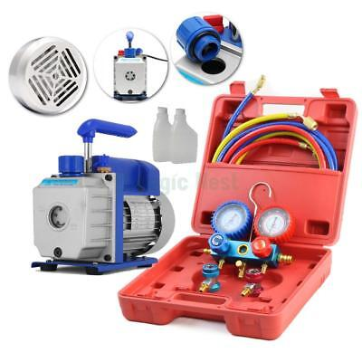 Combo 5cfm 13hp Air Vacuum Pump Hvac R134a Kit Ac Ac Dual Manifold Gauge Set