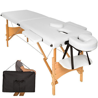 Mobile Massageliege Massagetisch Massagebank 2 Zonen klappbar weiss + Tasche