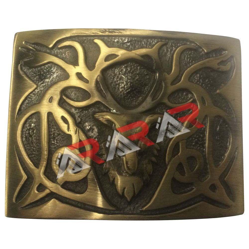 Scottish Highland Kilt Belt Buckle Stag Head Design High Quality Antique Plated