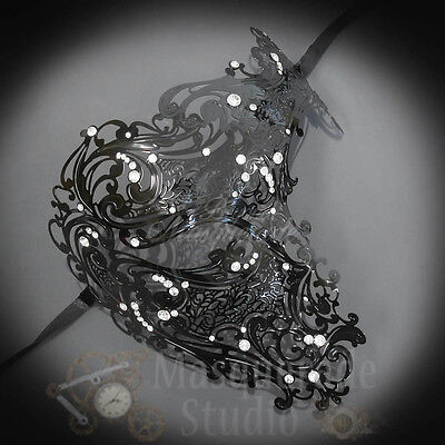 Womens Half Skull Phantom Venetian Filigree Metal Masquerade Mask [Black] - Venetian Half Mask