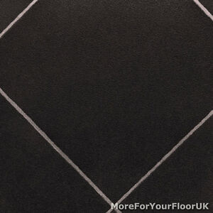 Black diamond tile vinyl flooring slip resistant lino 3m for Cushion floor tiles kitchen