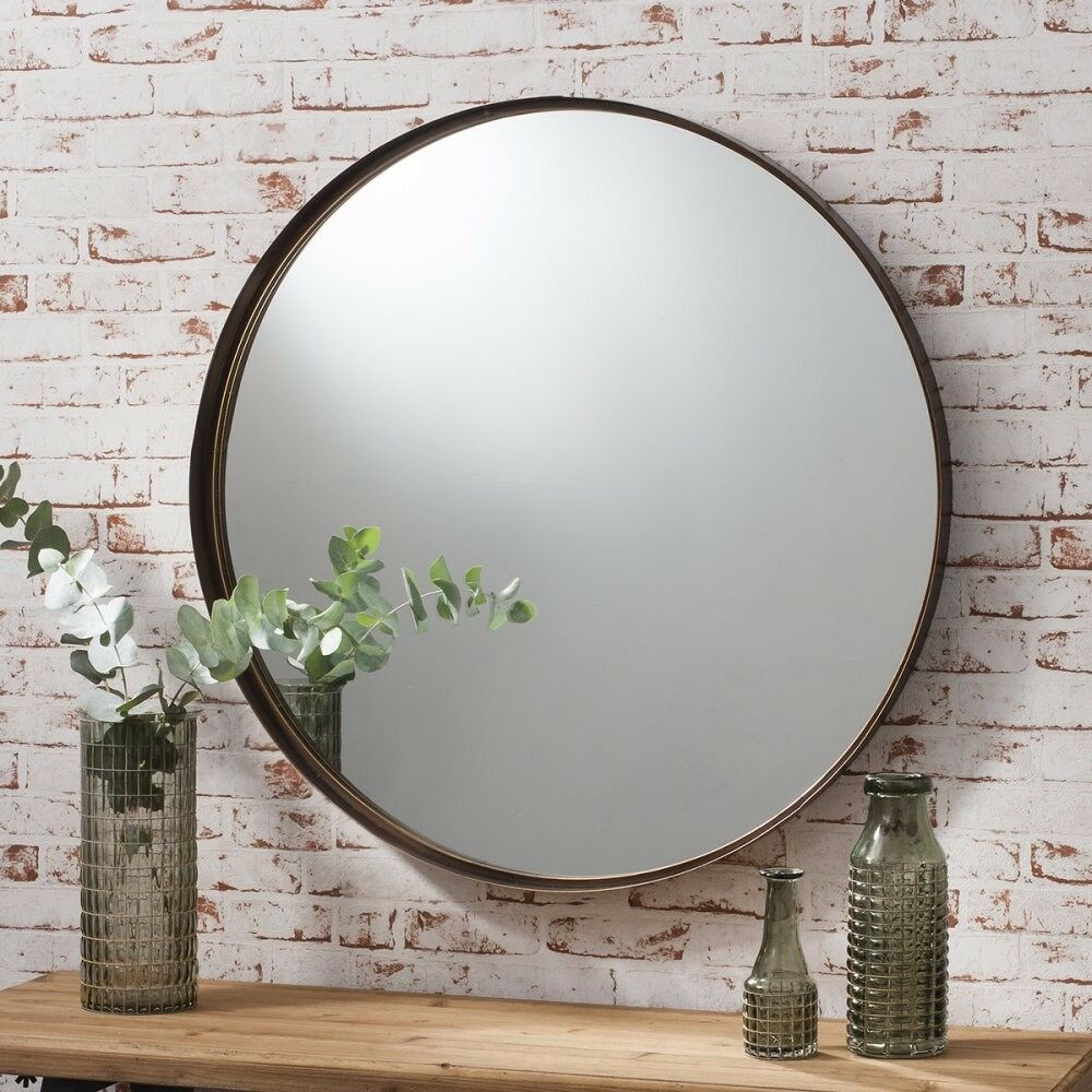1 x Greystoke Bronze Metal Round Mirror W840 x H840mm by Gallery Direct