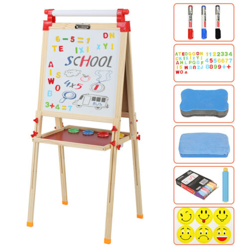 Double-Sided Kids Art Easel with Tray Child Drawing Board Ch