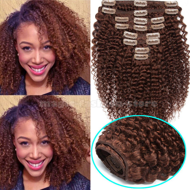 Afro Kinky In Weave Virgin Human Hair Head 8PCS
