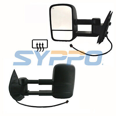Power Heated Towing Mirrors Black LH+RH for 07-13 Chevy Silverado GMC Sierra