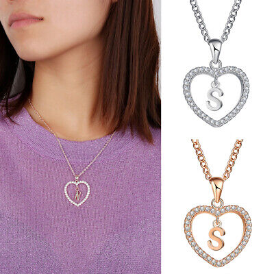 Crystal Alphabet (Women Crystal Initial Alphabet Letter A-Z Love Heart Pendant Chain Necklace Gift)