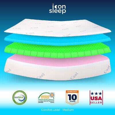 """10"""" Cool & Gel Memory Foam Mattress TWIN Size Bed Medium Feel"""