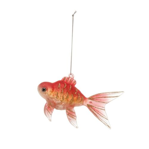 Goldfish Glass Ornament with glitter accents New Ocean Fish