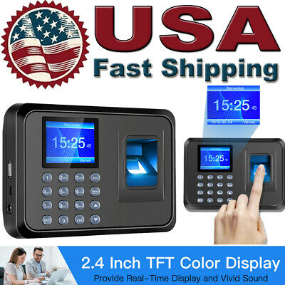 2.4 Lcd Screen Fingerprint Scanner Employee Attendance Check In Out Time Clock