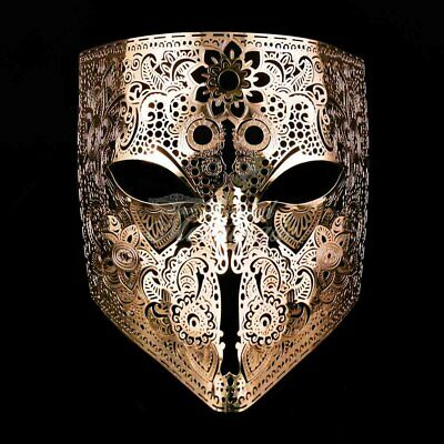 Luxury Bauta Light Filigree Metal Venetian Masquerade Mask for Men [Gold] - Man Masquerade Masks