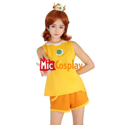 Mario Tennis Princess Daisy Cosplay Costume with Crown