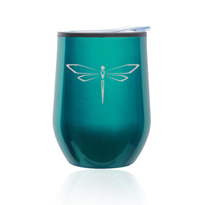 Stemless Wine Tumbler Coffee Travel Mug Glass Cup w/ Lid Dragonfly