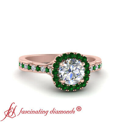 3/4 Carat Round Cut Diamond And Emerald Antique French Pave Halo Engagement Ring 1