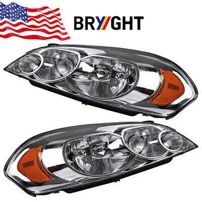 For 2006-2013 Chevy Impala 06-07 Monte Carlo Chrome Headlights Lamps Left+Right