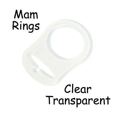 10 Clear Silicone Nuk Button MAM Ring Dummy / Pacifier Holder Clip Adapter
