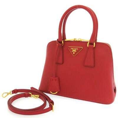 PRADA Saffiano Lux Calf Leather Red 1BA838 Handbag 2Way Shoulder Bag Italy
