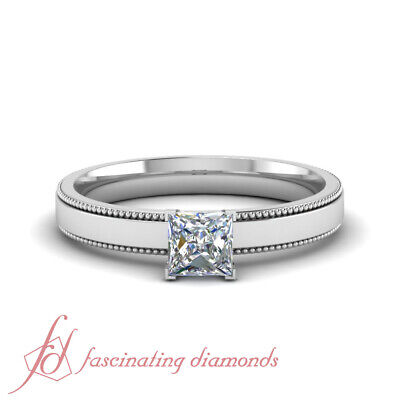 3/4 Carat Princess Cut Diamond Two Sided Milgrain Solitaire Engagement Ring GIA