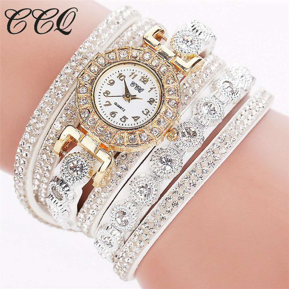 CCQ Women Fashion Casual Analog Quartz women Rhinestone Watch Bracelet watch A