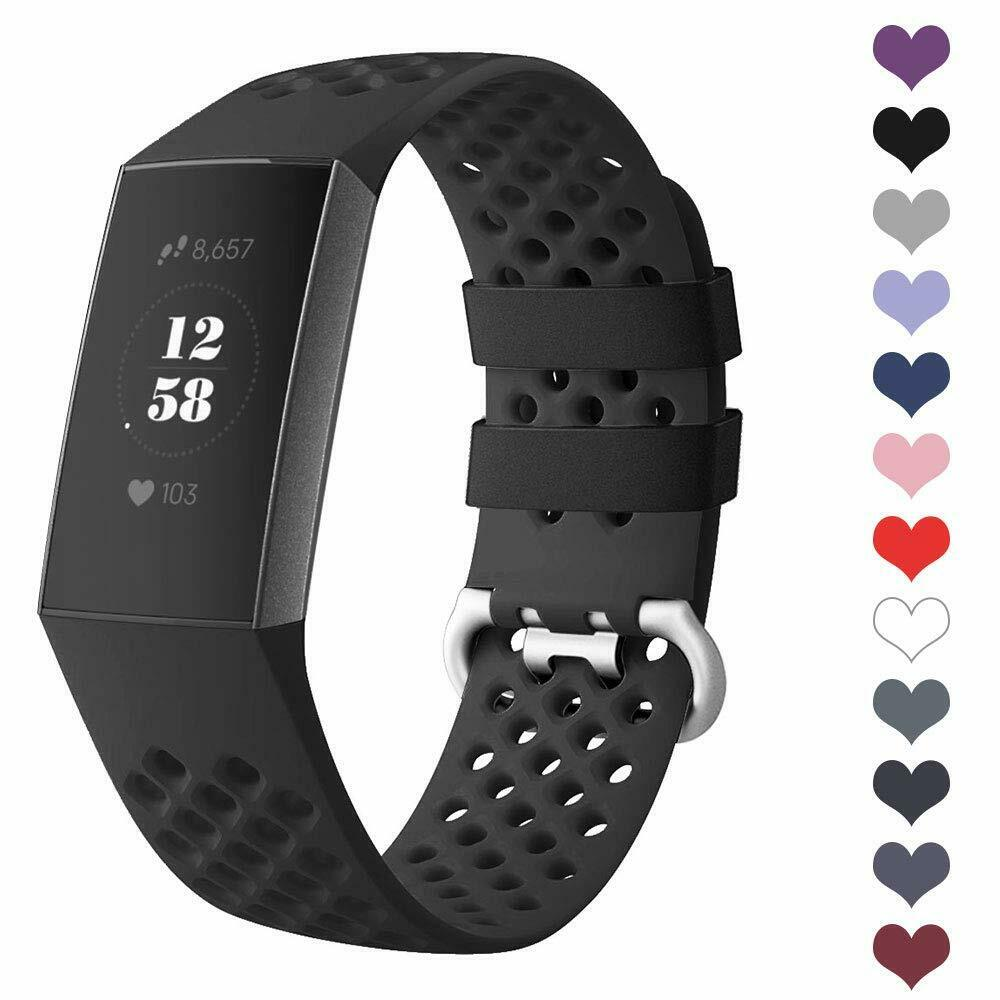 SWEES Fitbit Charge 3 /& 3 SE Silicone Breathable Sport Strap Replacement Bands
